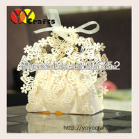 Butterfly Laser cut special style wedding favor boxes with ribbon
