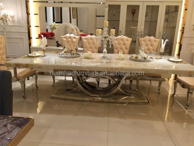 DH-1401 Foshan dining room furniture luxury royal modern dinning table