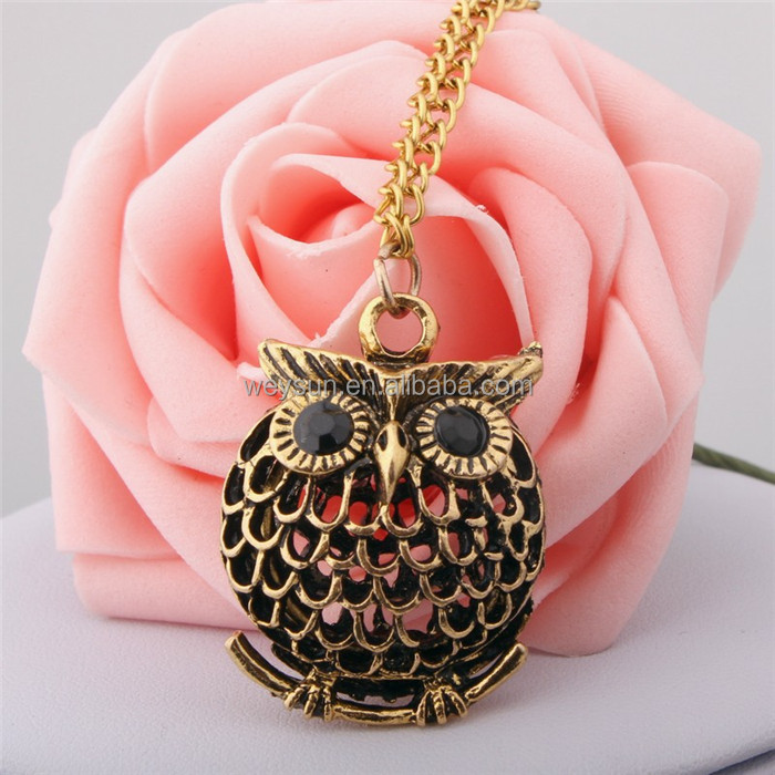 Owl Small Pendant Long Chain Necklace Women's Trendy Sweater Decoration Accessory