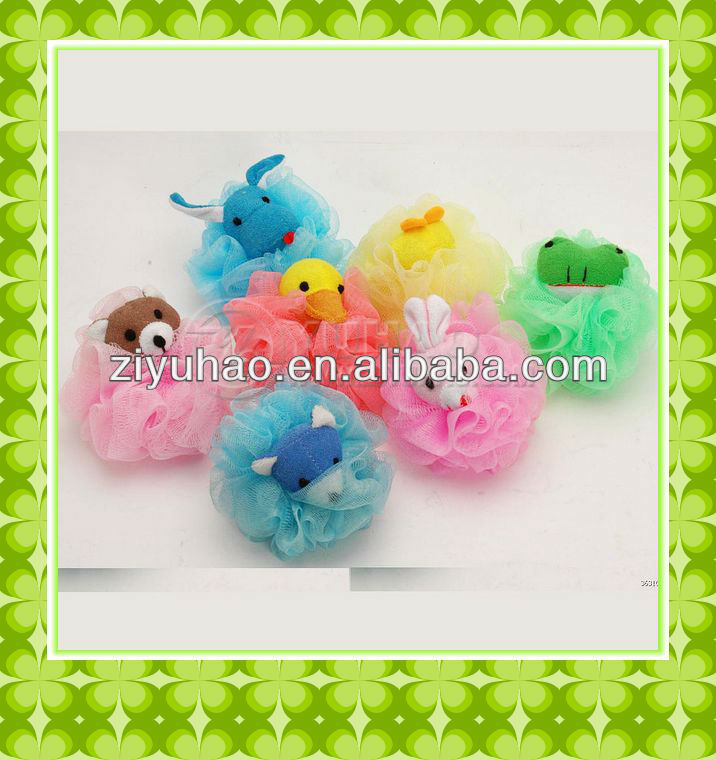 2012 Newest and cheapest Promotional mesh animal bath sponge for kids,shower back scrubber with cute duck design