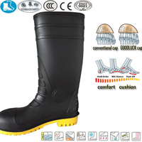basic fashionable black yellow pvc nitrile rubber safety water boots for women