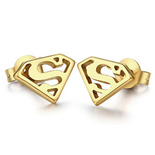 Fashion Movie Theme Jewelry Men's 316L Stainless Steel Gold Stud Earrings