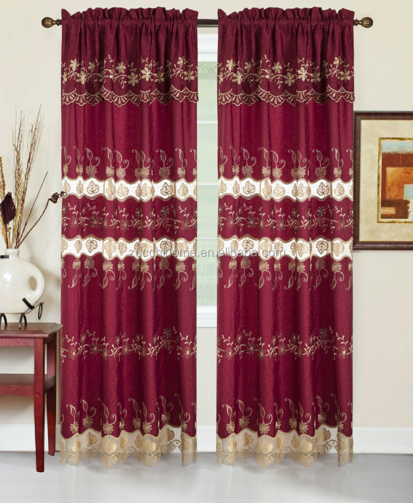 2017 American Modern Embroidered Lace Panel Luxury Water-soluble Curtain For Living Room