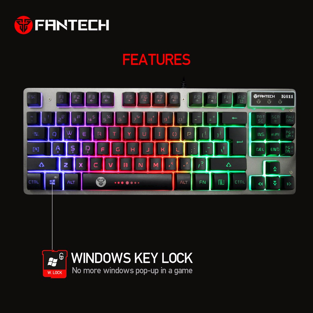 Fantech K611 USB wired gaming keyboard 3 color backlit for PC