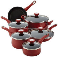 New Traditions Speckled Aluminum Nonstick 14-Piece Cookware Set, Red