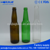Production On Time Custom Embossed blue glass beer bottle