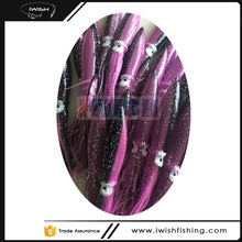 Homemade Fishing Lures Soft Rubber Light Purple And Black Bulb Squid Skirts For Wahoo Fishing