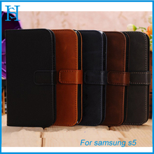 Luxury genuine leather cell phone case for samsung galaxy S5