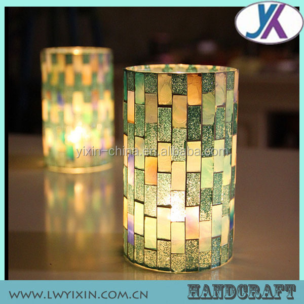 Tempered Crackle Glass Mosaic Mirror Candle Holder