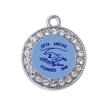 Anniversary Founded Days 1948 Zeta Amicae Sorority Shake Hand Logo Best Sisterhood Greek Letter Sticker Charms Pendant