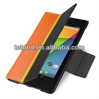 TETDED Premium Leather Case for Google Nexus 7 FHD 2013-- Bellac (Hercules III: Black / Yellow / Orange)
