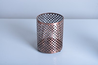 11A758 Round copper metal tealight holder with gridding shape