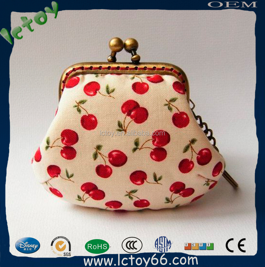 Coin purse with cherry print small bag