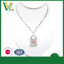 OEM Fashion Zinc Alloy Silver Lock Jewellery Beaded Pendant Necklaces for children