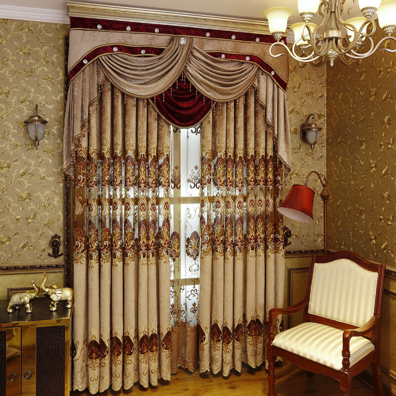 Luxury european style for sitting room jacquard fabric curtains and drapes