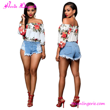 flower printed off shoulder ladies new stylish casual women tops and blouses