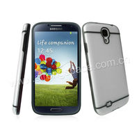 TPU(grey)+PC(transparent) mobile phone case for samsung galaxy s4
