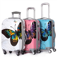 Light Airplane ABS+PC butterfly Trolley Suitcases