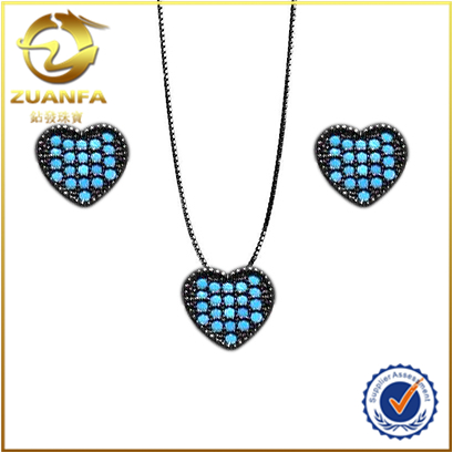 good quality loose turquoise micro paved heart earrings necklace bridal wedding jewelry set