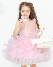 New Arrival 100% Polyester Baby Girl White Pink Flower Frocks Puffy Sleeveless Wedding Dress
