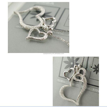 New Fashion Women Heart Shaped Silver Plated Stainless Steel Pendant