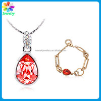 18K White Gold Rose Water Red Colors Crystal Rhinestone Infinity TearDrop Pendant Necklace