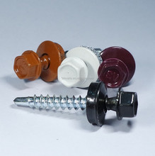 Powder Painted Head Indented Hex Washer Head Bonded Washer ASD Thread No.1 Reduce Point Roofing Self Drilling Screw