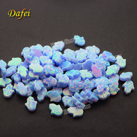 Light Blue Hamsa 8x10 Synthetic Opal