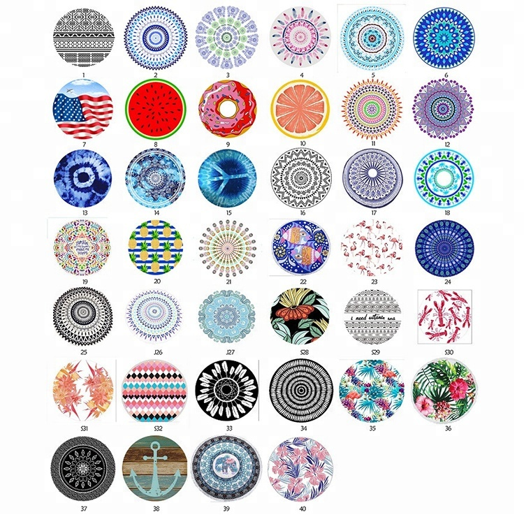 Custom microfiber fabric 150cm diameter printed round beach <strong>towels</strong>
