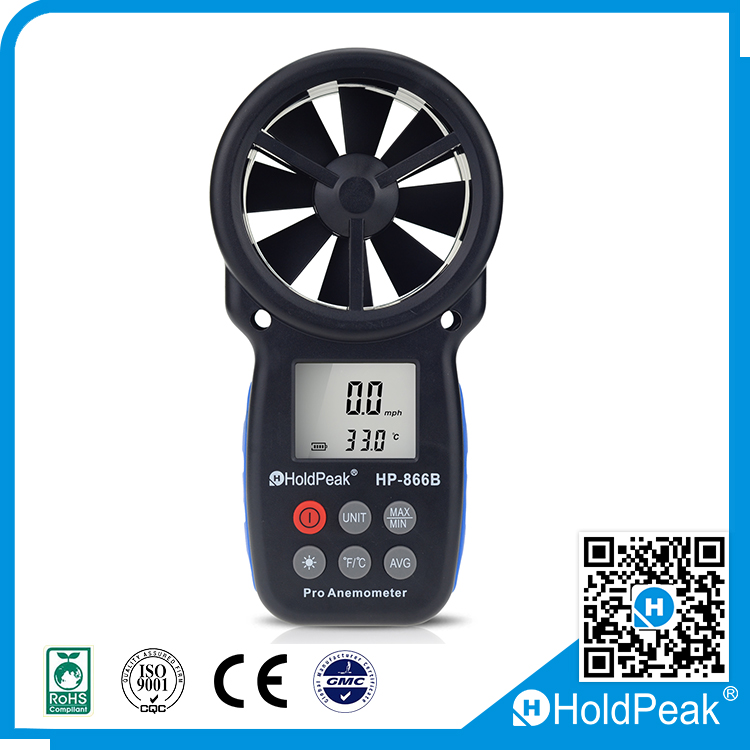 HoldPeak Digital mechanical anemometer , Air Wind Flow Meter Tester , wind speed measuring device Without Wrie
