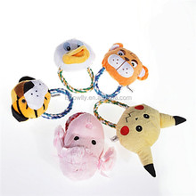 Adorable stuffing dog plush toy with squeaker rattle / pet plush chew toys with cotton rope knot