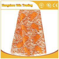 High quality orange net beaded net french lace fabric embroidery stone for new dress