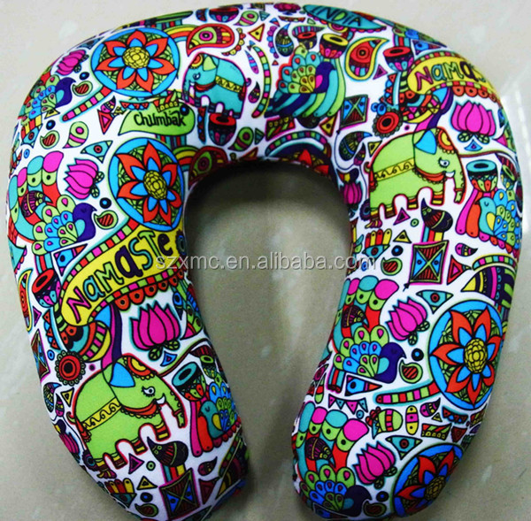 microbead pillow travel spandex printed pillow airplane u shape pillow