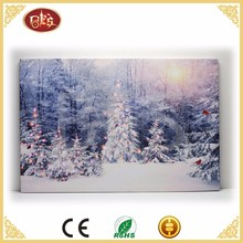 Winter Xmas tree light up wall art , lighted custom LED canvas paintings wall art