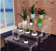 (4PCS/SET)Acrylic Nesting Book Display Tray <strong>Shelf</strong>,Home Use Plant Pedestal Risers-Flat Packed