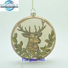 Bronze Christmas rein deer flat clear acrylic ball ornament for sale