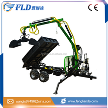 Tractor use forest hydraulic log trailer wood wagon timber loading trailer log wagon with crane
