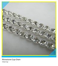 Rhinestone Cup Chain Jewelry Ss16 4mm Clear Crystal Silver Claw