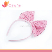 Cute Baby Girls' Fashion Hair Accessories Pink Polka Dot Print Bow Hair Band Headband
