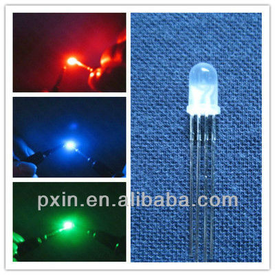 5mm common cathode 4-pin rgb color changing round led diode