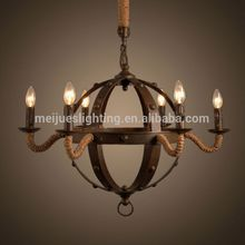 China supply customized home designs light decor ceiling hemp rope sphere chandelier