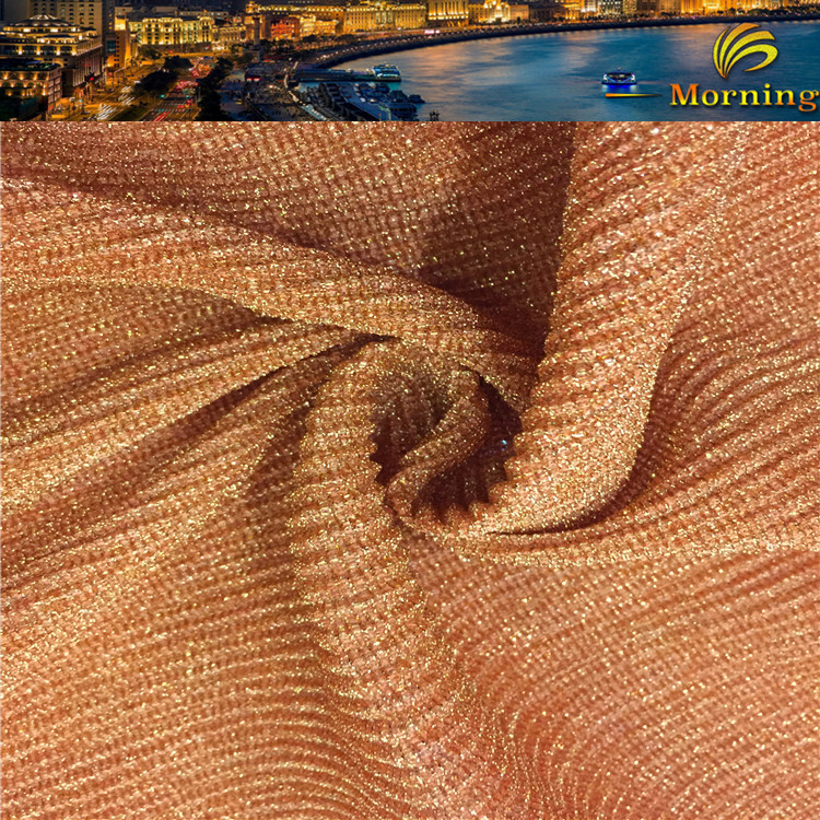 2017 new fashion orange metallic brilliant fabric wide crushed fabric for lady's skirt/dress