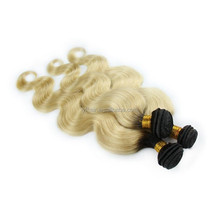 100 european virgin human weft blond double drawn russian remy hair extensions 1b & #613 ombre