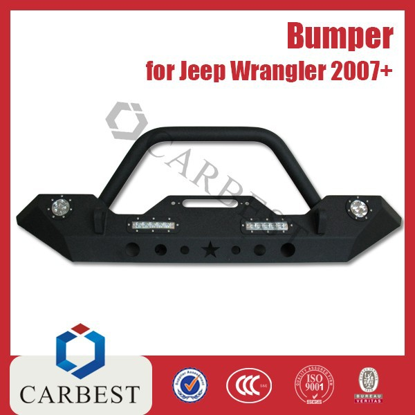 High Quality New Jk Wrangler Steel Blk Front Bumper with Led Light for Jeep Wrangler 2007-2014