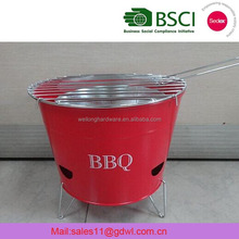 LFGB RED color Portable Barrel Outdoor camping BBQ Grill Tin Bucket