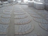 Fan Shape Granite Paving Stone Mixed Color Driveway Paving Stone