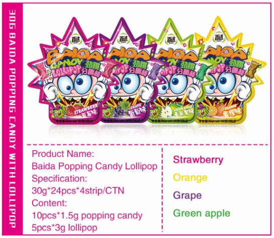 Fruity colorful popping candy with bear lollipop