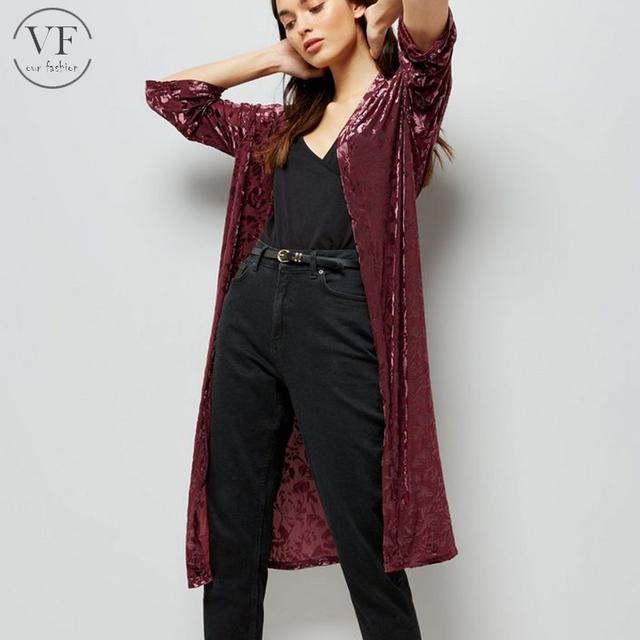 Alibaba free sample women Burgundy Floral Burnout Velvet Kimono abaya kimono