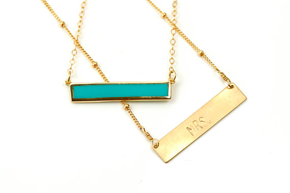 Wholesale fashion custom name bar necklace simple metal gold plated turquoise color statement necklace