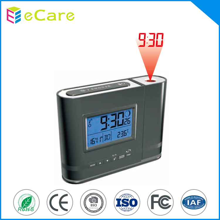 Black color LCD display countdown alarm projection clock
